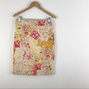 J Crew Mustard Yellow pink floral pencil skirt 4